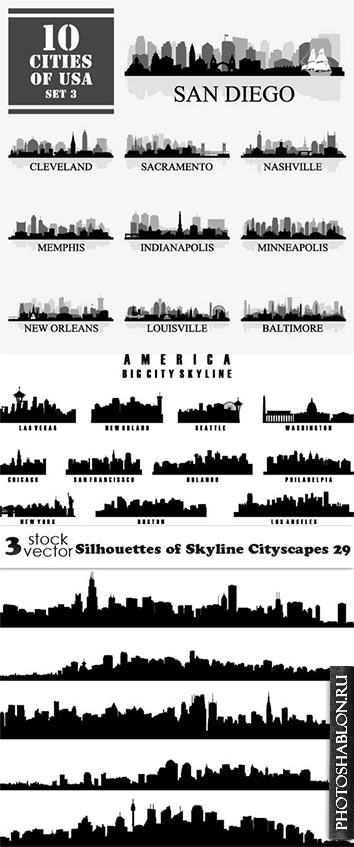 Vectors - Silhouettes of Skyline Cityscapes 29