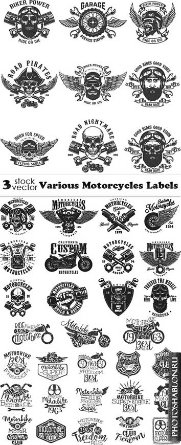 Vectors - Various Motorcycles Labels