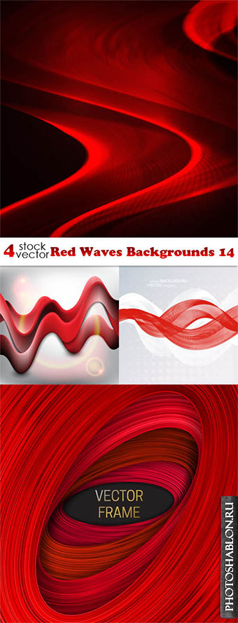 Vectors - Red Waves Backgrounds 14
