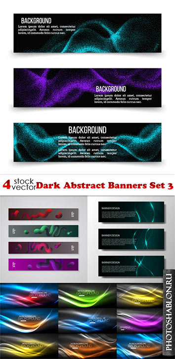 Vectors - Dark Abstract Banners Set 3