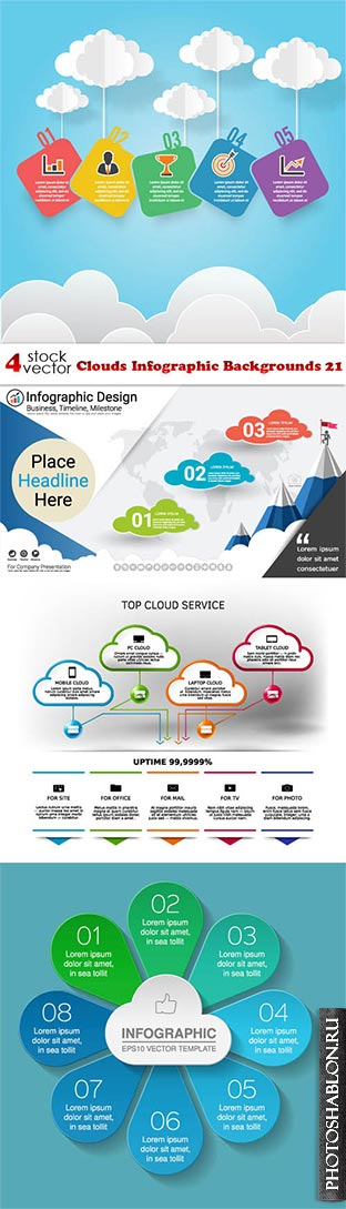 Vectors - Clouds Infographic Backgrounds 21