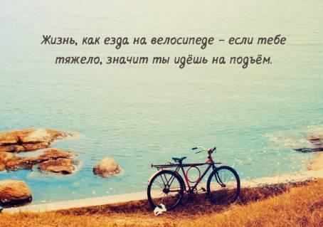 """Цитата: """"Жизнь, как езда на велосипеде - если..."""